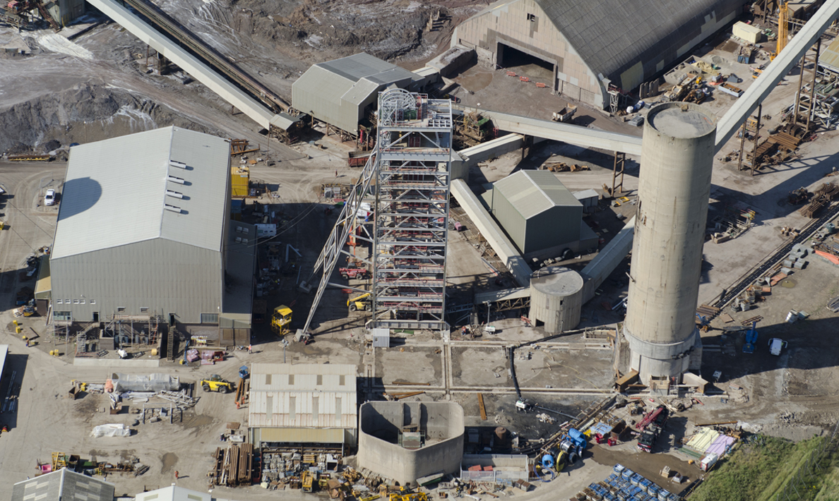 Cleveland Potash, old tower and new headgear after final slide | Boulby Mine