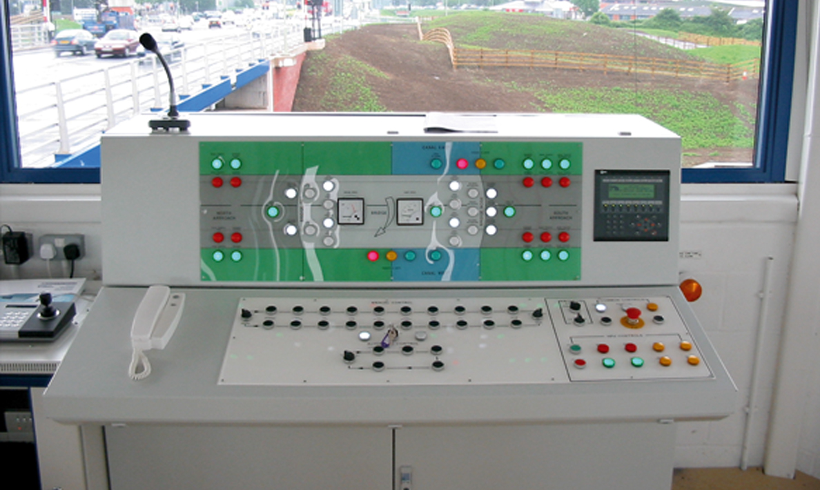 Control panel for Netheridge Bridge, road swing bridge over Gloucester and Sharpnes Canal, South West Bypass | Gloucester