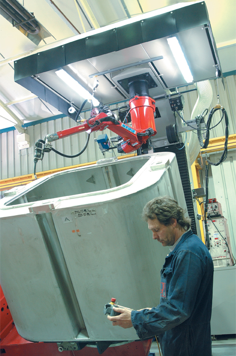 Stainless steel nuclear waste storage boxes under manufacture at Qualter Hall