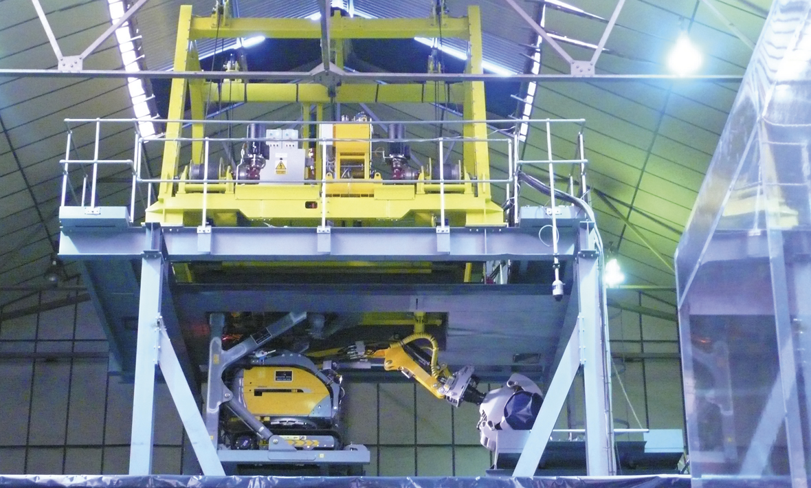 Nuclear waste vault retrieval machine under test at Qualter Hall - 2 of 7