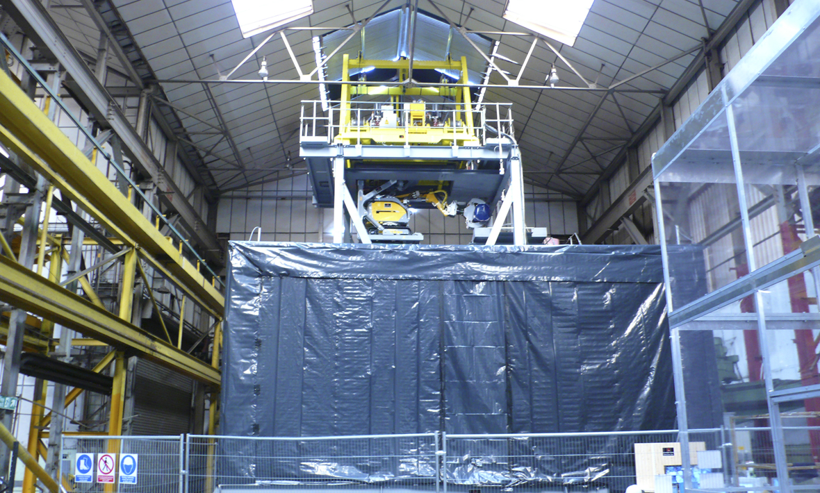 Nuclear waste vault retrieval machine under test at Qualter Hall - 1 of 7