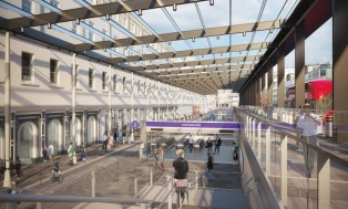 Paddington Station's Departures Road 120m long glass and steel canopy
